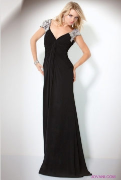 Black Dress  Sleeves on Evening Gown With Embellished Sleeves
